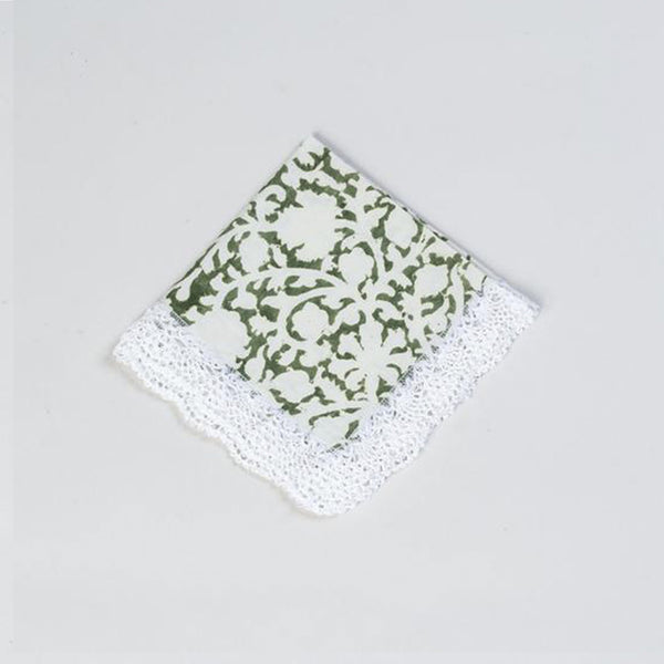 Kalamkari Cocktail Napkin Green and White