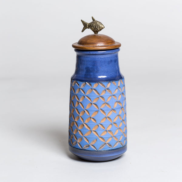 Dhokra Jar Blue