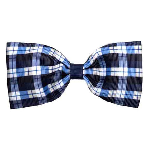 Elaine Navy Plaid Bowtie Bow Hair Clip