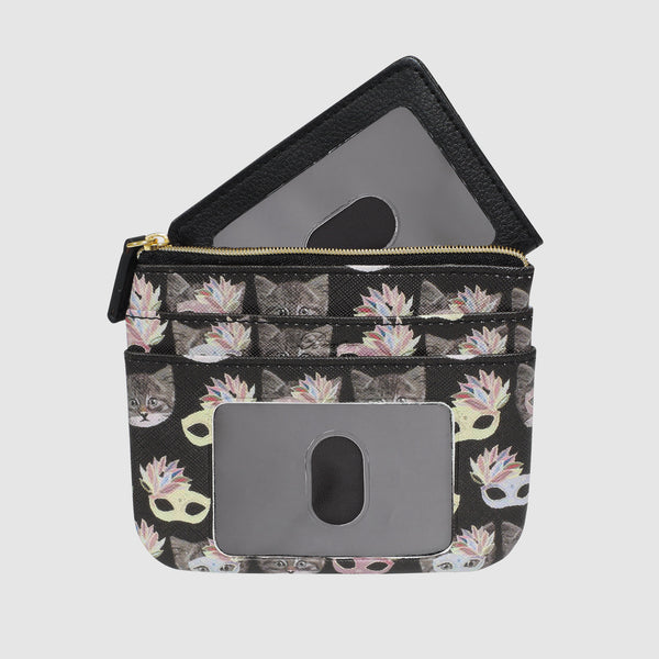 MASQUERADING CATS Large ID Card Coin Case with RFID