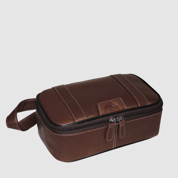 Dopp® TOP ZIP TRAVEL KIT - Antiqued Milled Cowhide Leather
