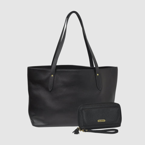 Chelsea Leather Tote & Tech Wallet Set