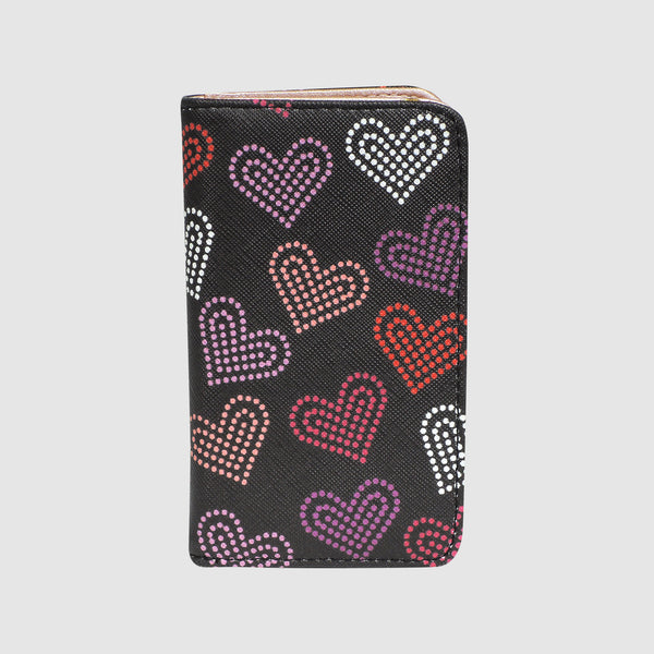 NEON HEARTS SNAP CARD CASE with RFID