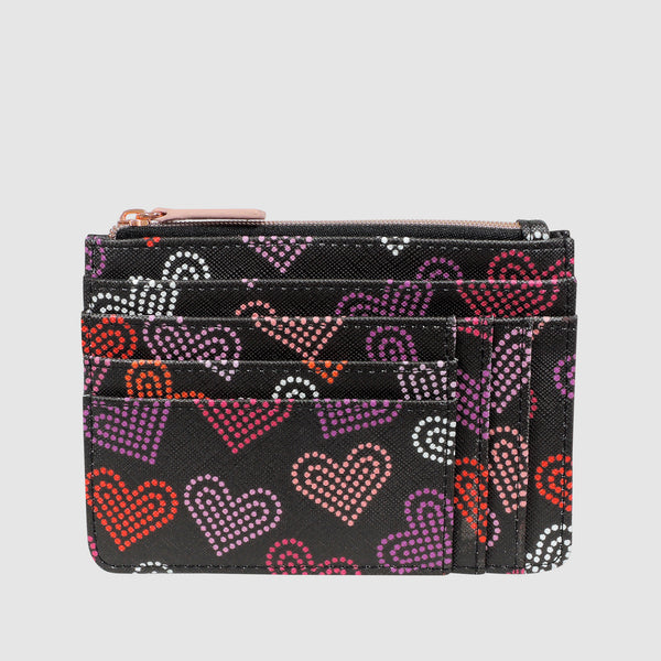 NEON HEARTS SLOT COIN, CARD CASE with RFID