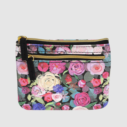 Floral Sunshine - Large ID Card Coin Case with RFID