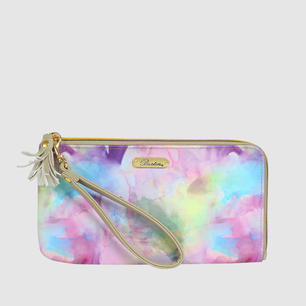 WATERCOLOR TIE DYE -  L ZIP WRISTLET with RFID