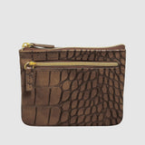 BURNISHED CROCO ID, COIN CARD CASE with RFID