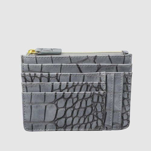 BURNISHED CROCO SLOT COIN, CARD CASE with RFID