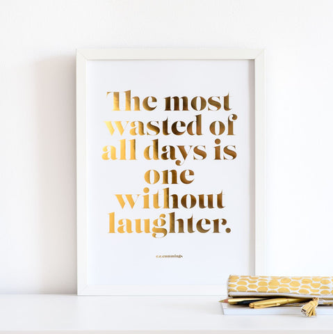 Laughter Copper Foil Poster - white