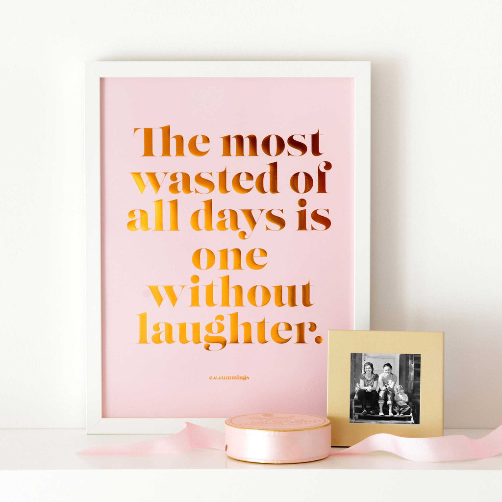 Laughter Copper Foil Poster - pink
