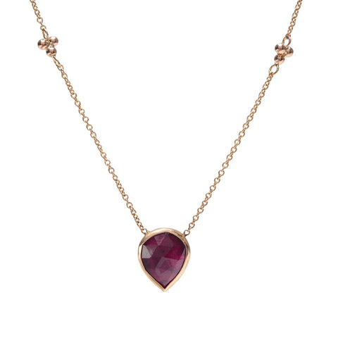 PEAR RUBY NECKLACE