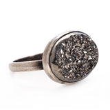 SMALL PLATINUM DRUSY RING