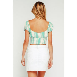 Mint Striped Puff Sleeve Smocked Top