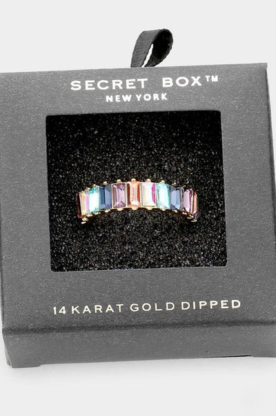 Secret Box 14K Gold Dipped Colorful Stone Ring
