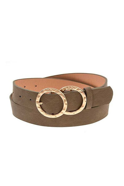 Wide Double Ring Buckle Fashion Belt