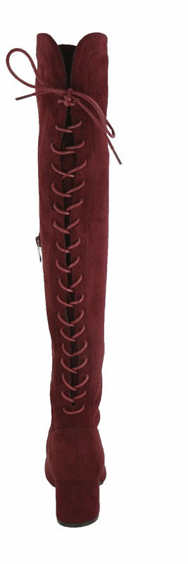 London Faux Suede Over the Knee Lace-Up Boots