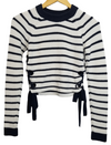 Topshop Navy Striped Knit Sweater