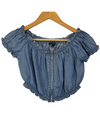 Haute Monday Denim Off The Shoulder Crop Top