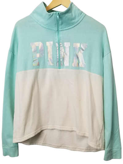 PINK Mint/White Half Zip Sweater