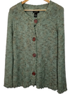 BCBG Green Knit Button Up Long Sleeve Sweater