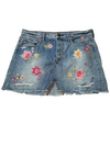 American Eagle Light Wash Embroidered Skirt