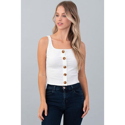 Button Up Ribbed Tank Top