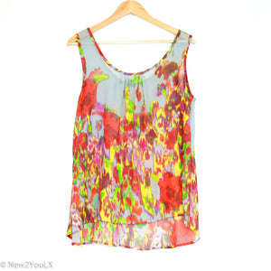 Grey Floral Multi Color Blouse (Apostrophe) - New2Youlx