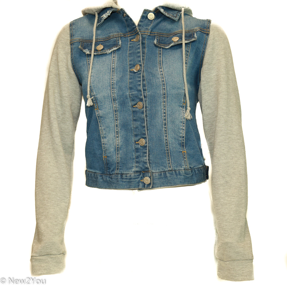 Denim Jean Jacket with Grey Hood