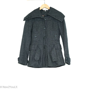 Grey Pea Coat With Buttons & Belt (H&M) - New2Youlx