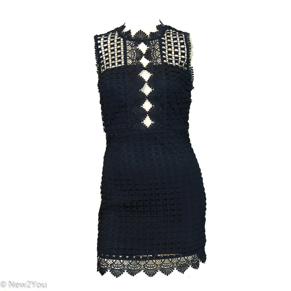 Karlie Navy Blue Crochet Mid-Length Dress - New2Youlx