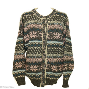 Vintage Wool Nordic Style Button-Up Sweater