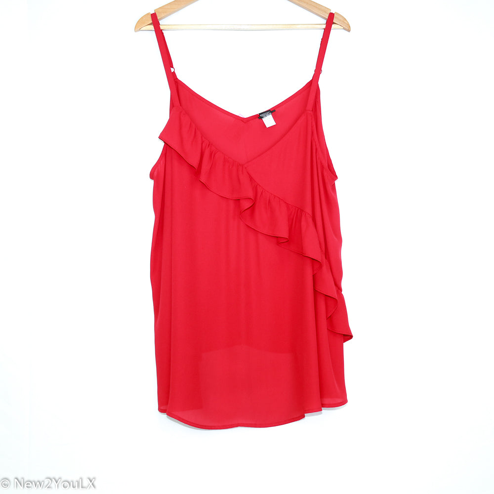 Sheer Red Ruffle Camisole (Torrid) - New2Youlx