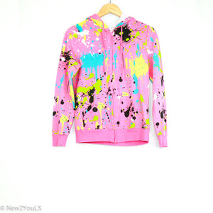 Pink Paint Splatter Hoodie (Faith Peace & Love) - New2Youlx