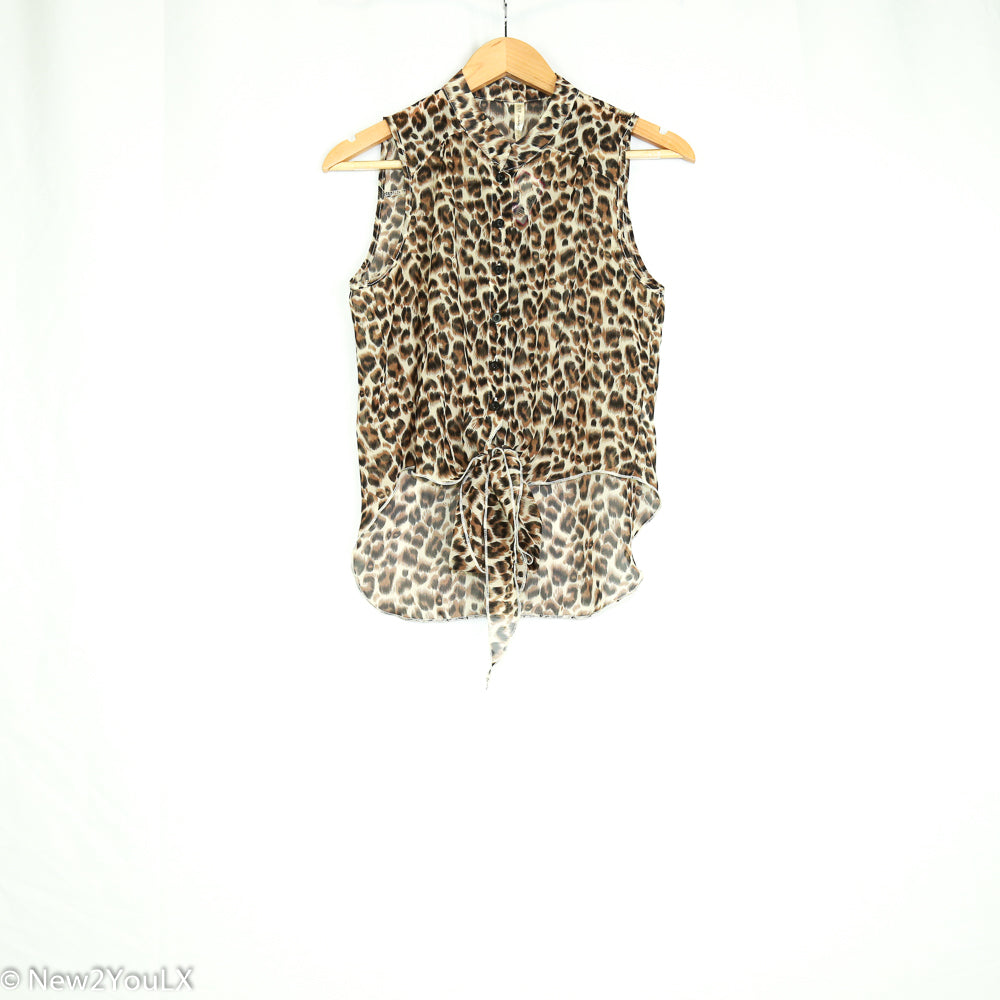 Sheer Animal Print Blouse (Dna) - New2Youlx