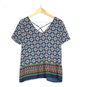 Navy Patterned Blouse (Seinna Sky) - New2Youlx