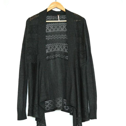 Grey Cardigan with Lace Detailed Back