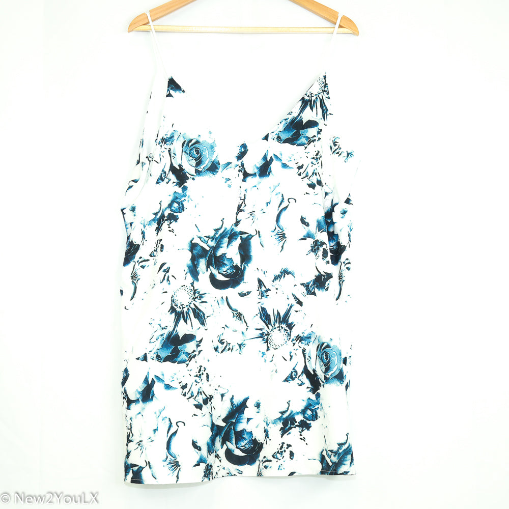 White & Blue Floral Blouse (Yoni's) - New2Youlx