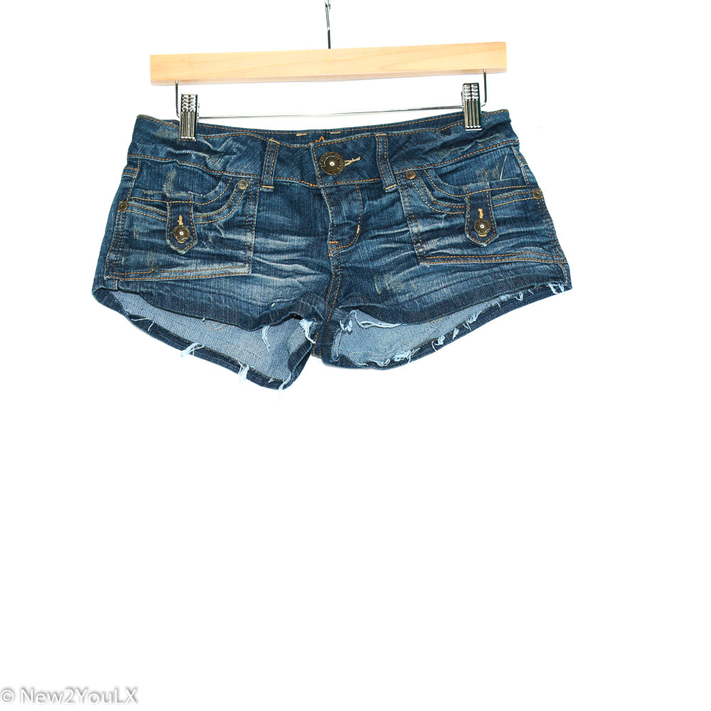 Gold Button Shorts With Frayed Bottom (South Pole) - New2Youlx