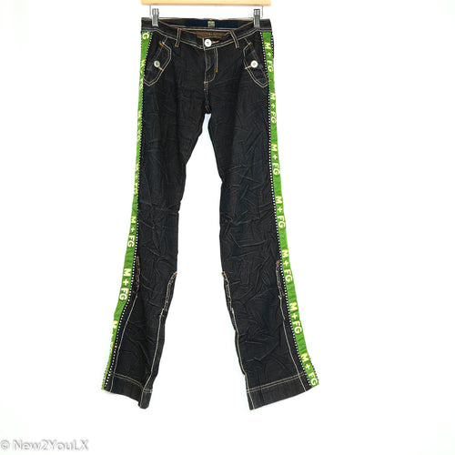 Embellished Green Racer Stripe Jeans