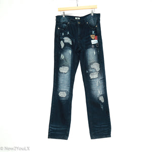 Distressed On Trend Denim Jeans (Grey Earth) - New2Youlx