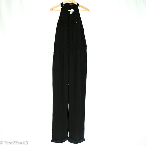Black Button Up Sleeveless Jumpsuit - New2You LX