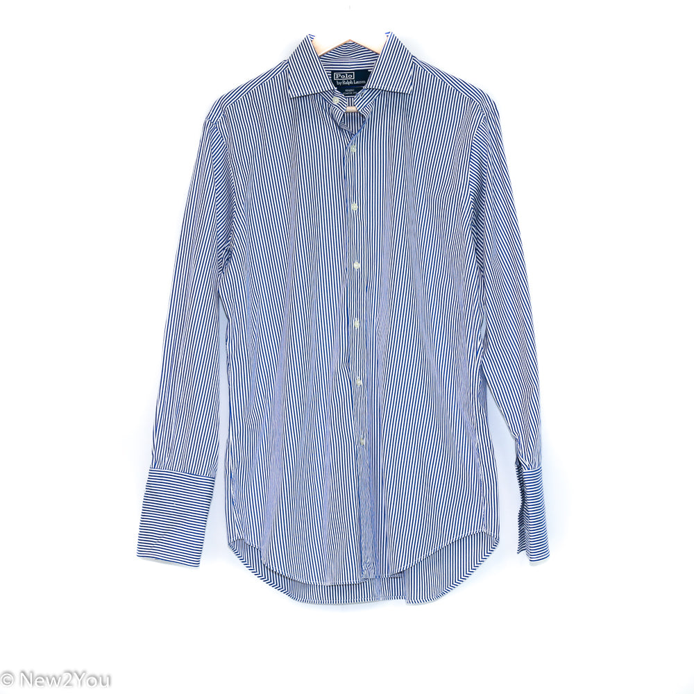 Classic Blue&White Pinstriped Button Up (Polo) - New2You LX