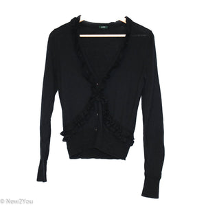 Black Ruffle Cardigan (J Crew) - New2You Lx