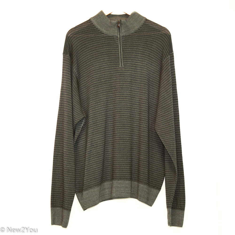 Grey Striped Quarter-Zip Sweater (Peter Millar) - New2Youlx