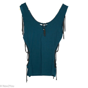 Teal Cutout Tie Up Top (Liloo)