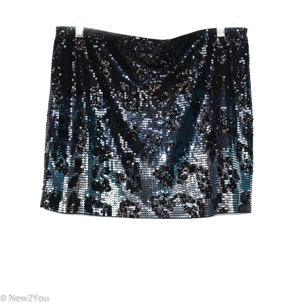Black Cheetah Sequence Skirt (Express) - New2You Lx