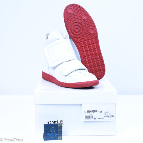 Maison Martin Margiela Hi-Top Double Strap Shoes Future White With Red Soles