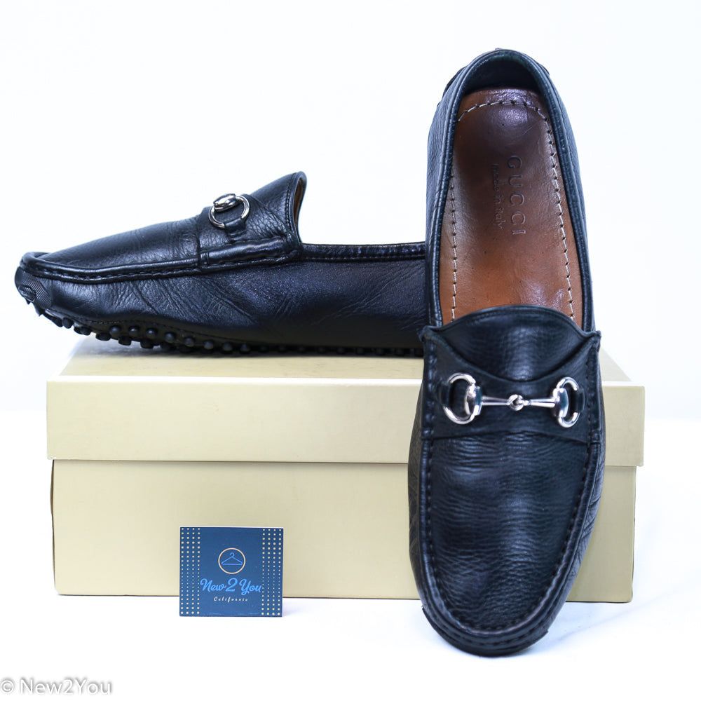 Black Soft Leather Silver Horsebit Driving Moccasin Loafers ( Gucci ) - New2You Lx
