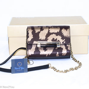 Gold Animal Print With Gold Hardware & Chain (Diane Von Furstenberg) Dvf - New2Youlx