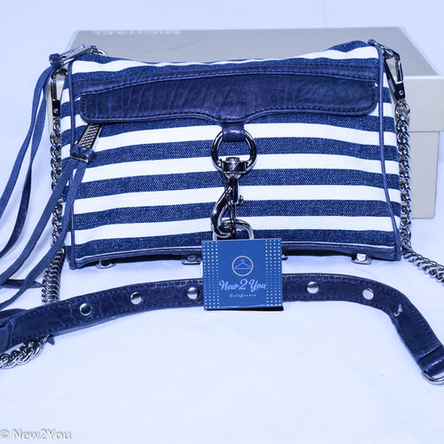 Navy Blue and White Striped Cross Body Purse ( Rebecca Minkoff )